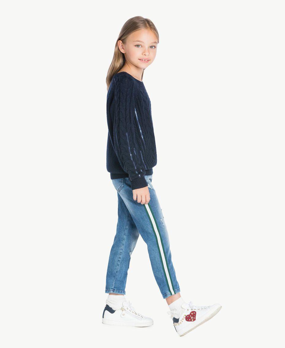 Pullover mit Zopfmuster Blue Night Weiblich GA73BA-02