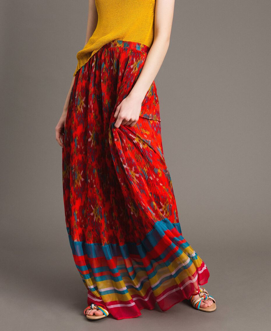 Floral print chiffon long skirt Multicolour Chiné / Grenadine Striping Woman 191TT2362-03