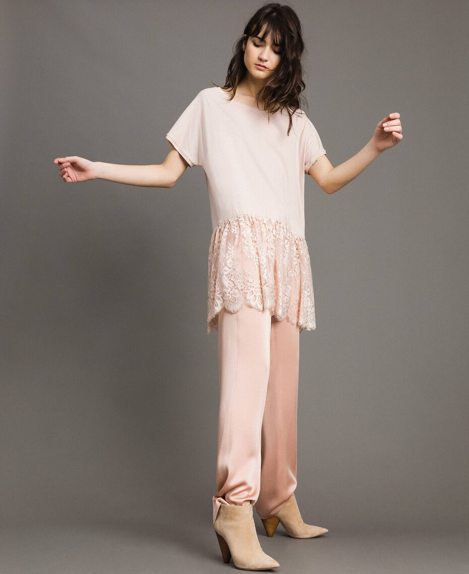 Maxi T-shirt with lace Bud Pink Woman 191TP260G-01
