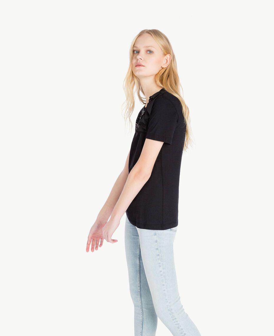 T-shirt ruches Noir Femme JS82RS-02