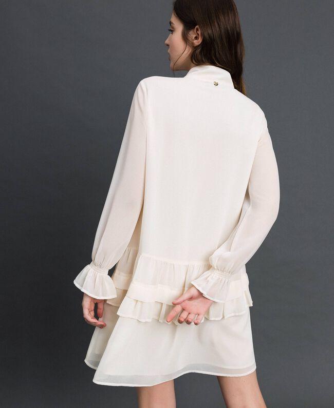 Robe en crêpe georgette avec fermeture éclair Blanc Vanille Femme 192MT2060-04