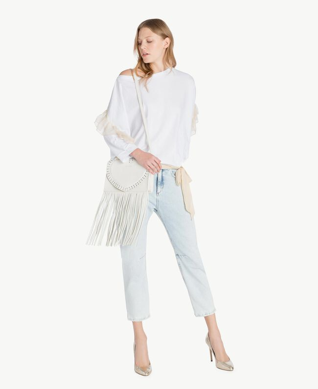TWINSET Fringed shoulder bag Light Ivory Woman AS8PCA-05