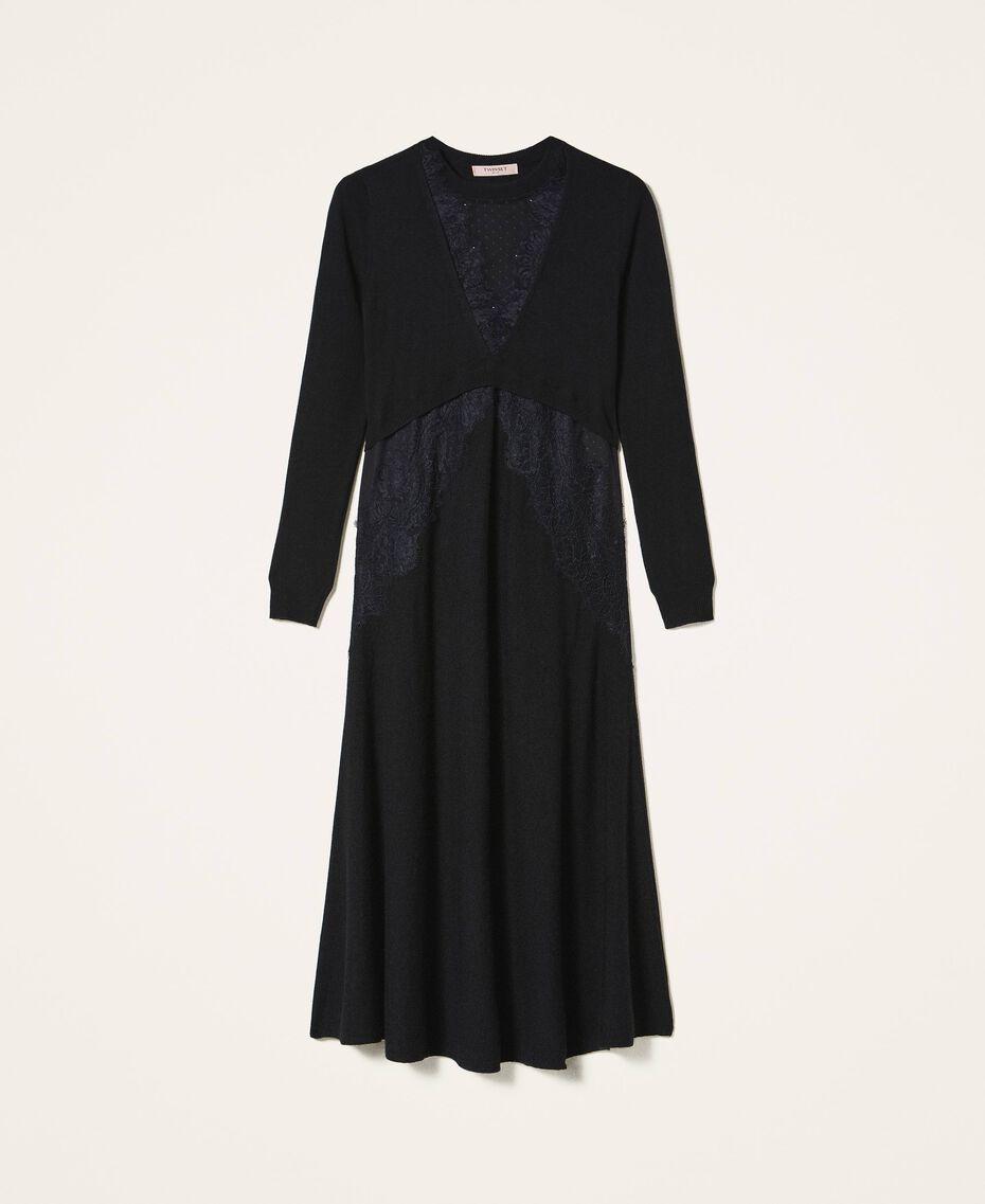 Robe en laine mélangée avec dentelle Noir Femme 202TT3130-0S