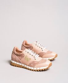 Sneakers aus Spitze und Wildleder Perlrosa Frau 191TCP026-01