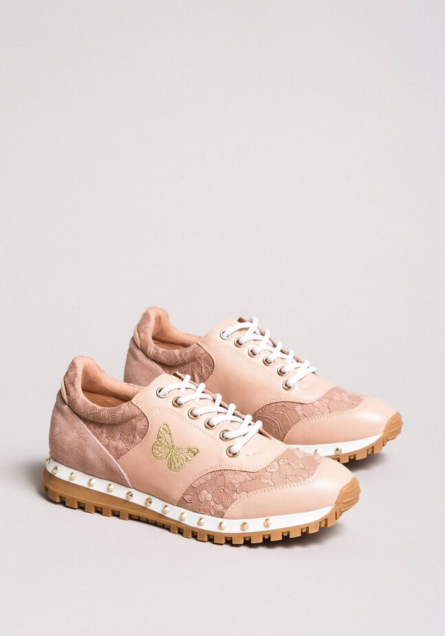 Lace and suede sneakers