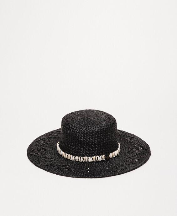 Cappello in paglia con conchiglie e strass