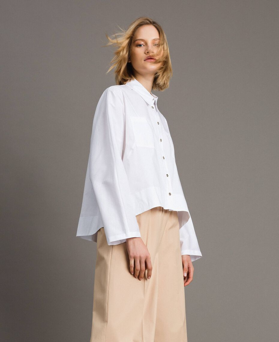 Poplin shirt with pockets White Woman 191LL23LL-05