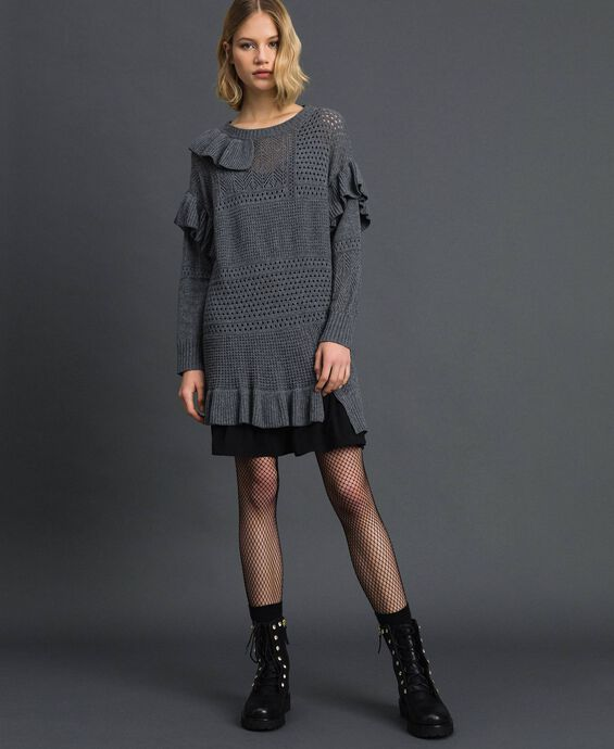 Openwork wool and cashmere dress