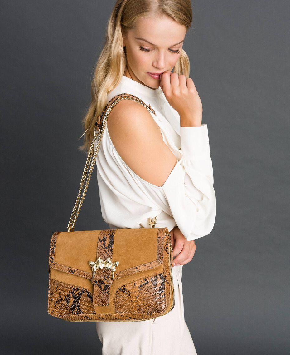 Grand sac Rebel à bandoulière en cuir et cuir velours Imprimé Python Brandy Femme 192TO8241-0S