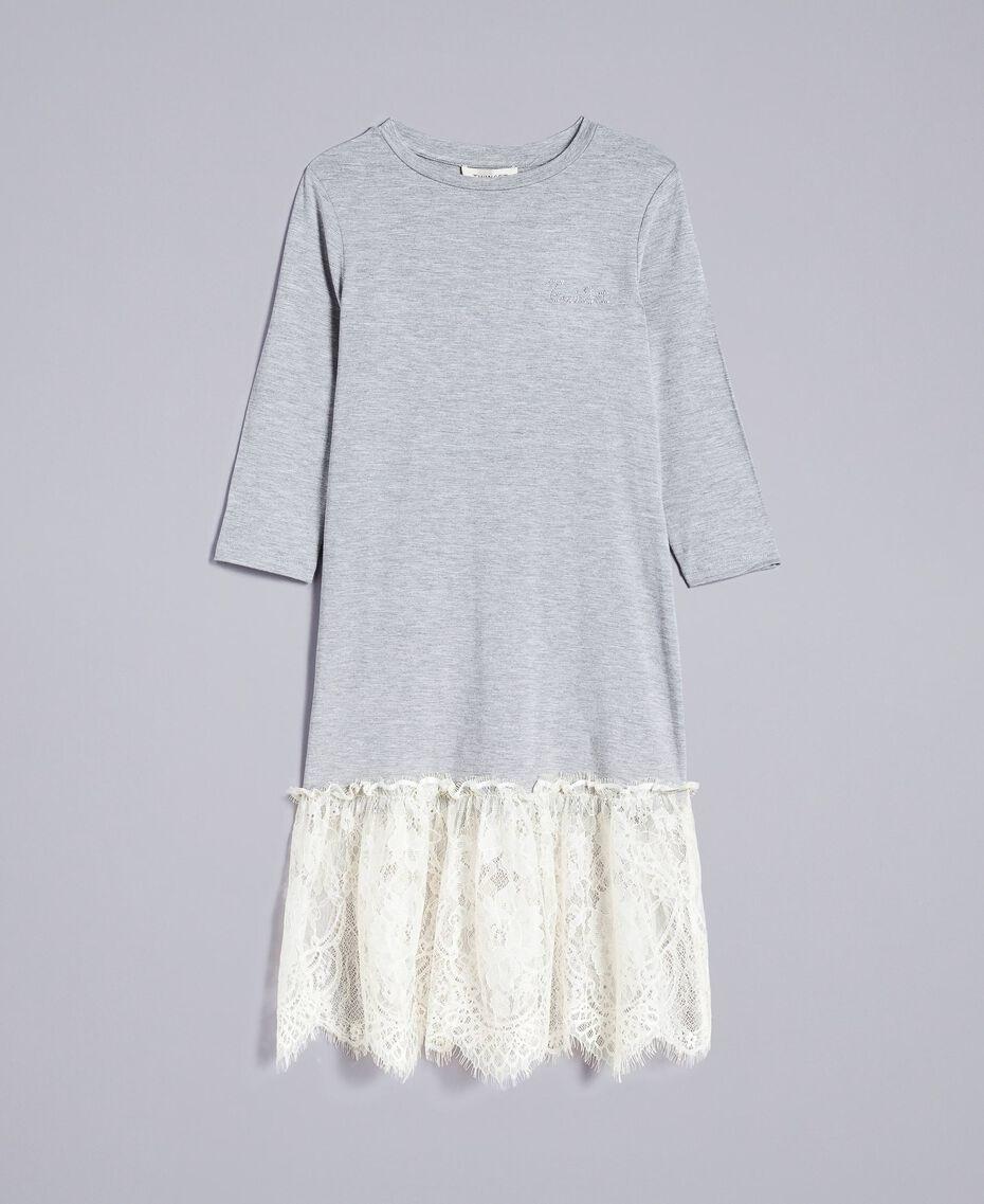 Длинное платье из джерси с кружевом Двухцветный Светло-серый Меланж / Желтовато-белый Pебенок GA82GN-01