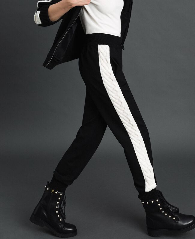 "Jogging trousers with knit inlay Bicolour Black / ""Snow"" White Woman 192TP2124-03"