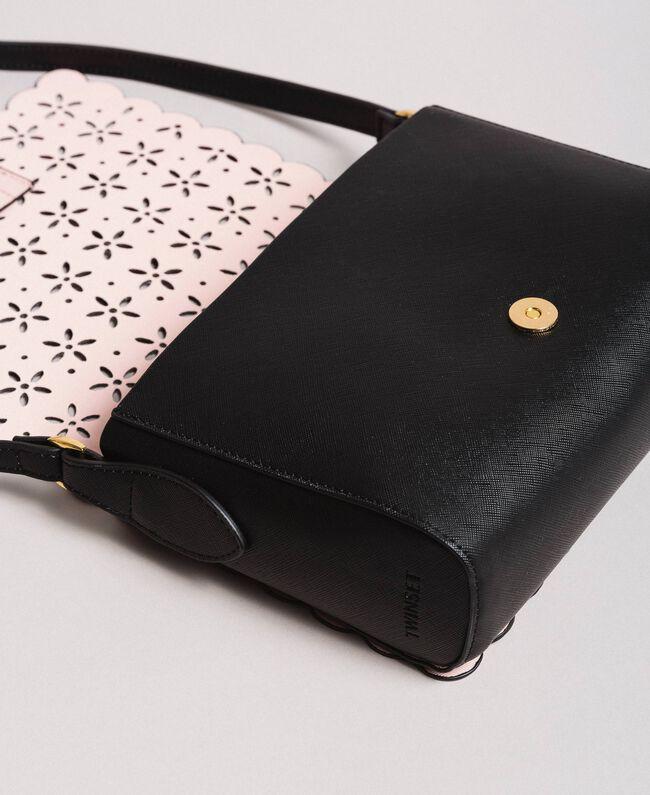 3903301c04 Sac à bandoulière en similicuir avec motif floral Noir Femme 191TA7162-03