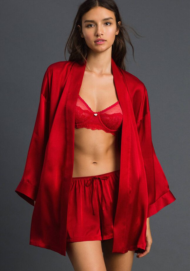 Satin gown with belt