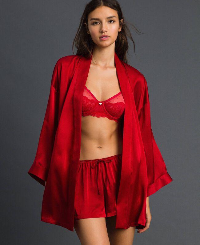 Robe de chambre en satin avec ceinture Rouge Ardent Femme 192LL2MAA-01