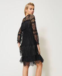 Robe en tulle avec dentelle et franges Noir Femme 202TP2374-04