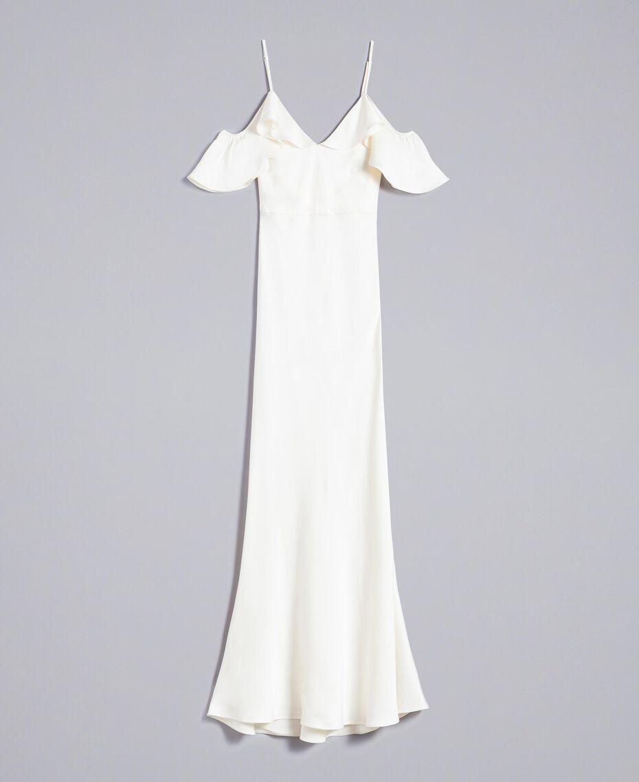 Robe longue en envers satin avec ruches Blanc Neige Femme TA8243-0S
