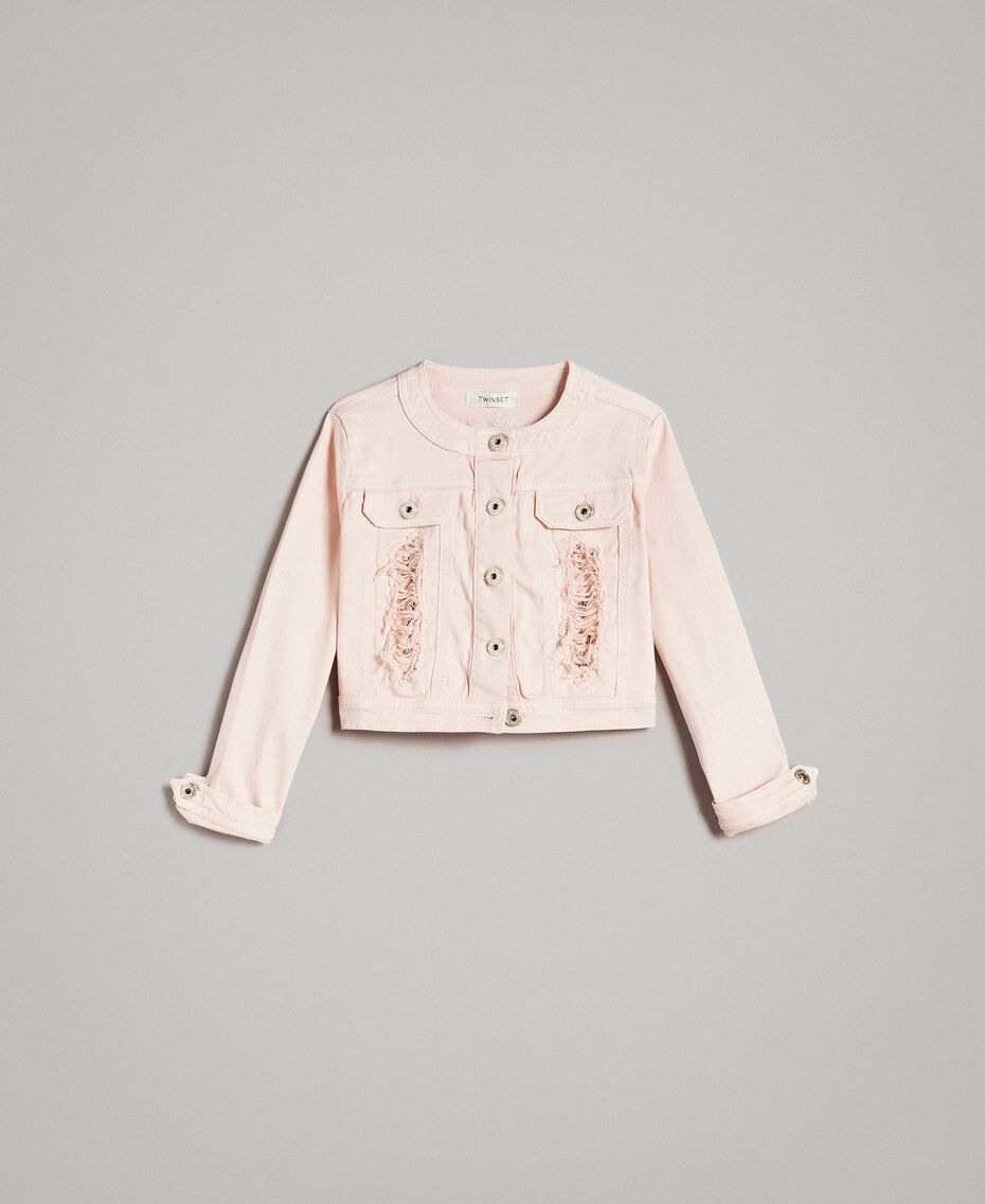 Bull stretch jacket with lace Blossom Pink Child 191GJ2062-01