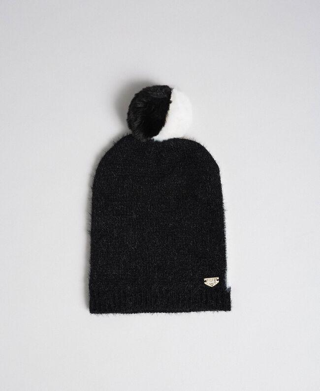 Zweifarbige Mütze in Pelzoptik Schwarz / Elfenbein Frau 192LI4ZNN-01