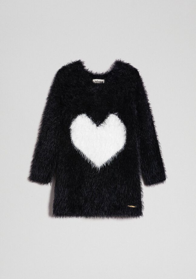 Fur effect yarn dress with hearts