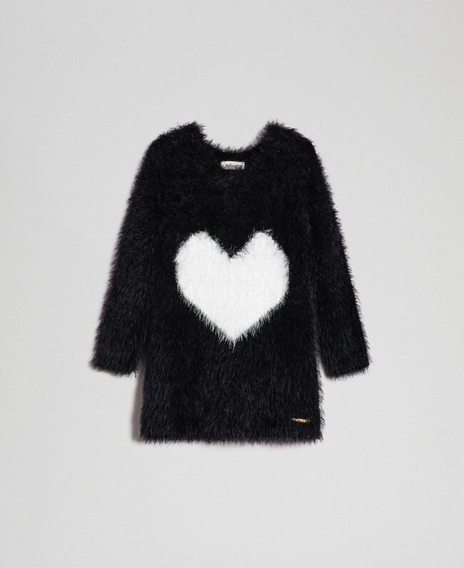 Fur effect yarn dress with hearts Two-tone Black / White Child 192GB3241-01