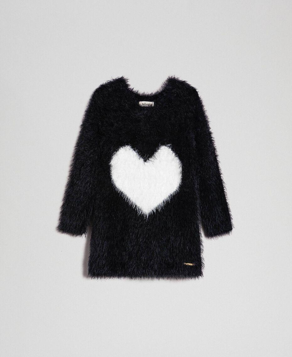 Abito in filato effetto pelliccia con cuore Bicolore Nero / Bianco Bambina 192GB3241-01