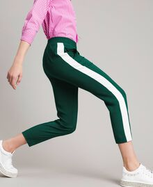 "Georgette trousers Two-tone ""Evergreen"" Green / Silk White Woman 191TP2328-04"