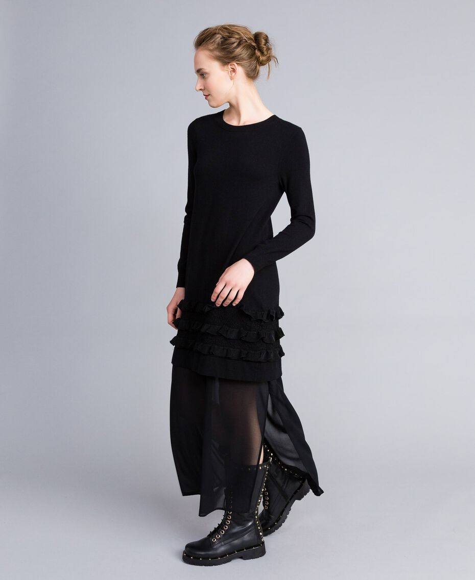 Knitted dress with ruches and inlay Black Woman PA83CR-02