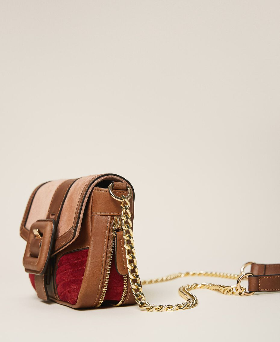 Suede and smooth leather small Rebel shoulder bag Multicolor Nude / Cherry Red / Leather Brown Woman 202TB7053-03