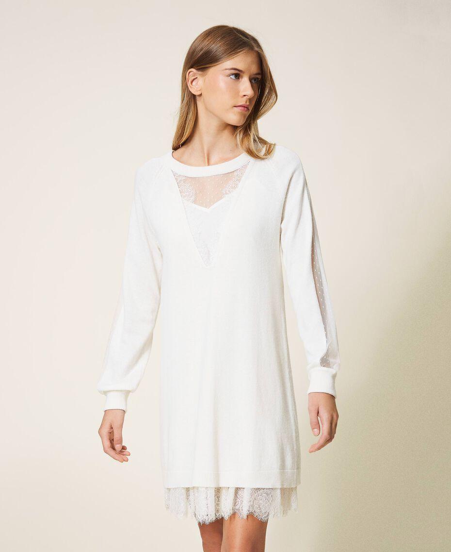 Vestido de lana mixta con combinación White Nieve Mujer 202TT3132-01