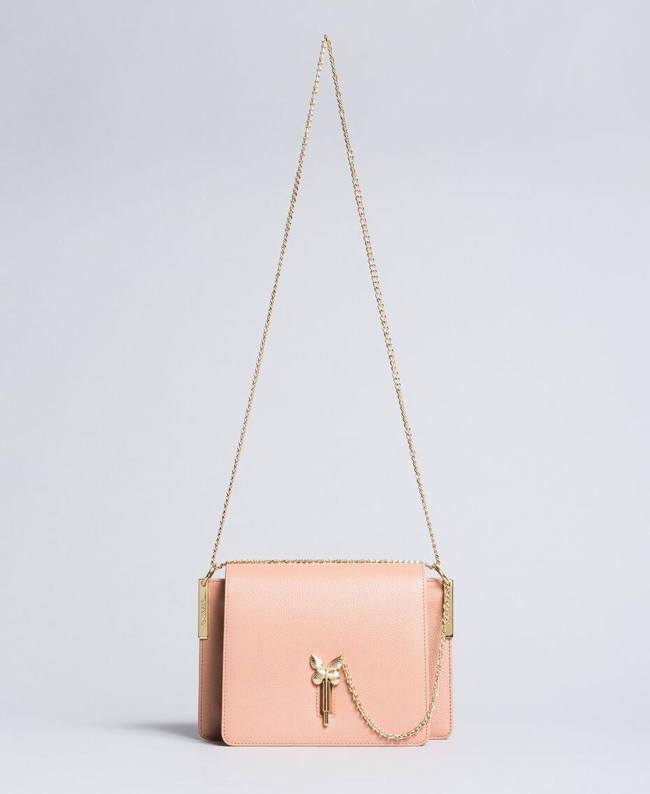 "Leather shoulder bag ""Pale Pink"" Pink with Gold Butterfly clasp Woman OA8TEA-02"