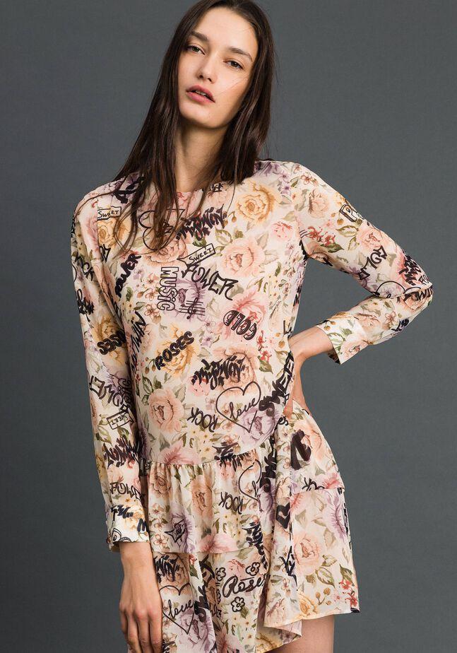 Robe avec imprimé floral et graffiti