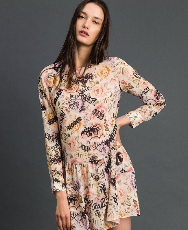 Kleid mit Blumen-Graffiti-Print Blumen-Graffiti-Print Vanille Frau 192MP222K-01