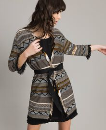 Maxi cardigan with inlay details and fringes Multicolour Neutral Grey Striping Woman 191TT3160-01