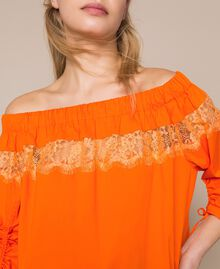 Blouse en popeline avec dentelle Orange «Calendula» Femme 201MT210C-04