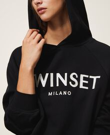 Hoodie with logo embroidery Black Woman 202TT2480-04