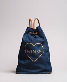 Bucket backpack with logo and heart Dark Denim Woman 191LB4ZPP-02
