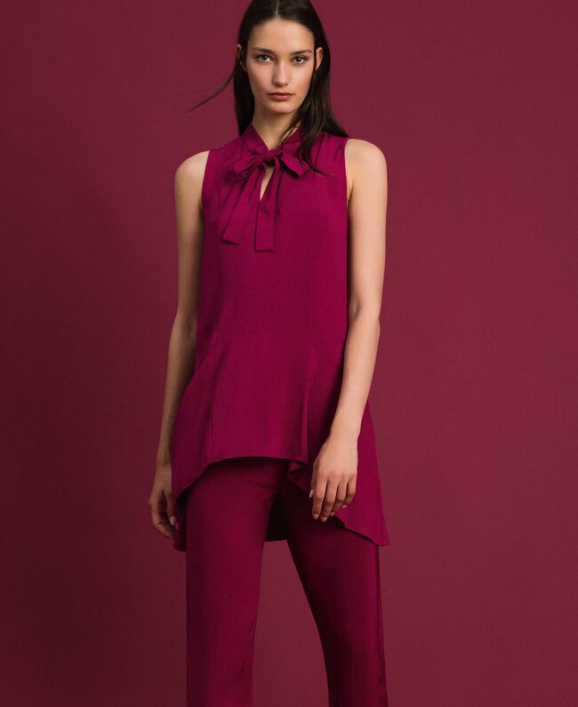 Georgette blouse with pussy bow Beet Red Woman 192TP2383-01