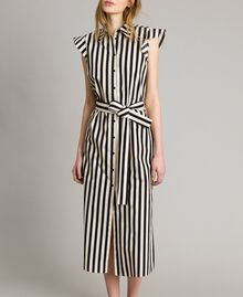 "Poplin striped shirt dress ""Marzipan"" Beige / Black Striped Print Woman 191TT2282-02"
