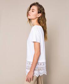 Maxi T-shirt con ricamo macramé Bianco Donna 201LM2HCC-02