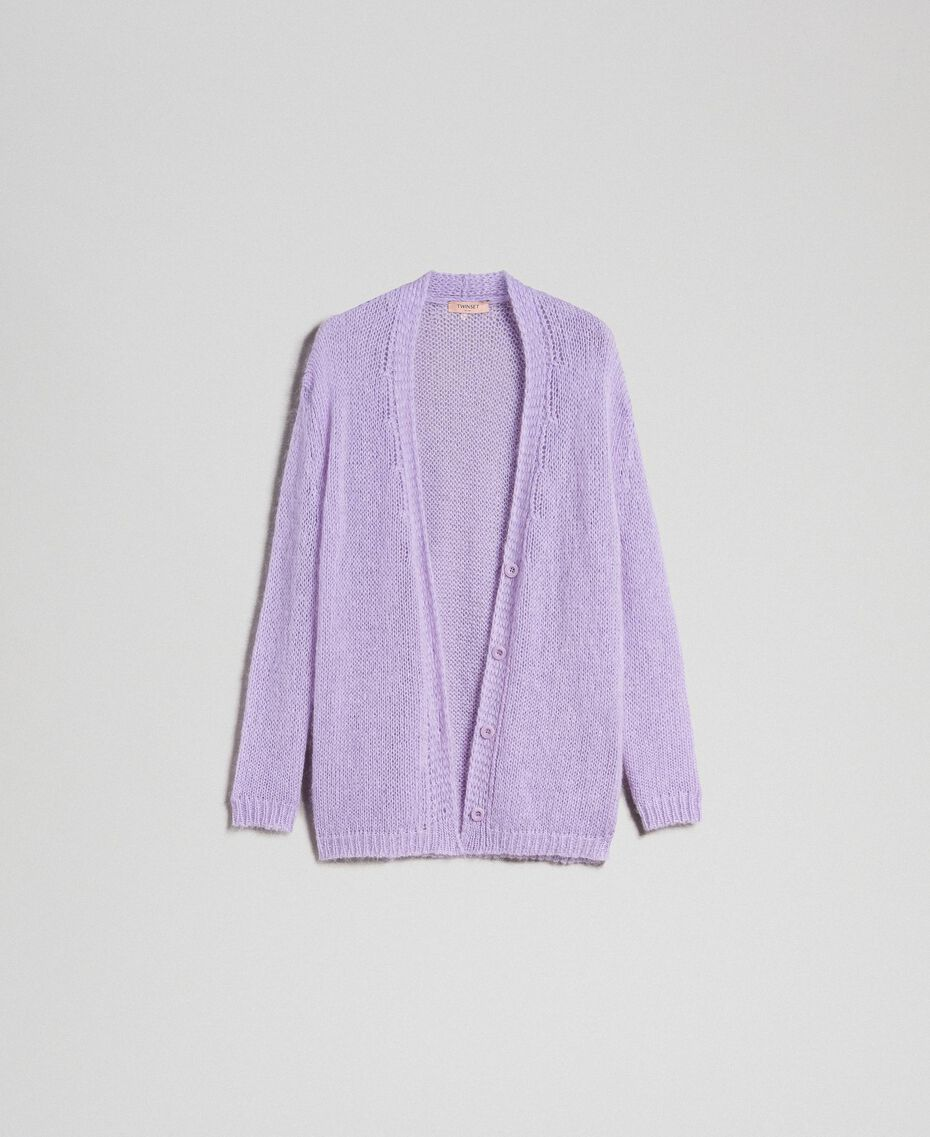 """Cardigan in mohair Rosa """"Pink Lavender"""" Donna 192TT3270-0S"""
