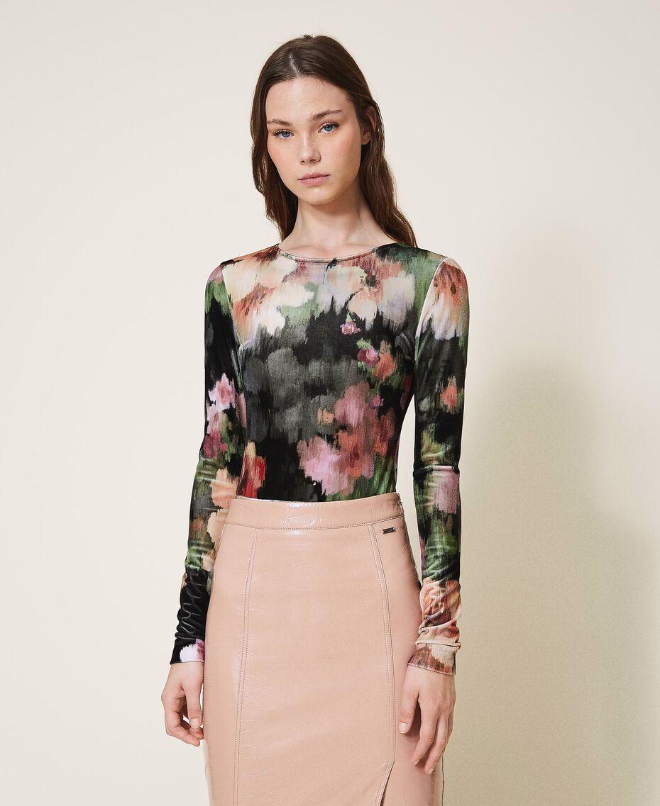 """Body in velluto stampato a fiori Stampa Fiori Nero / Rosa """"Peach Pearl"""" Donna 202TT2360-02"""