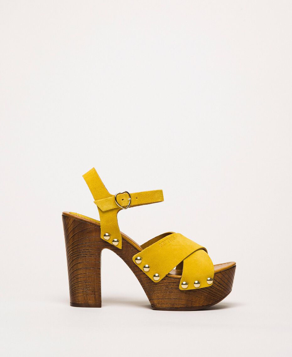 Suede clog sandals Ochre Yellow Woman 201MCT01A-03