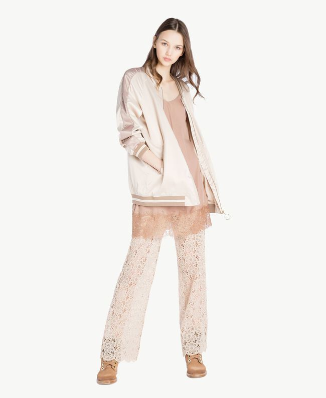 """Satin bomber Two-tone """"Rope"""" Beige / """"Amphora"""" Brown Woman SS82EA-05"""