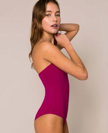 Einschultriger Badeanzug mit Logo Hot Fuchsia Frau 201LBMHYY-04