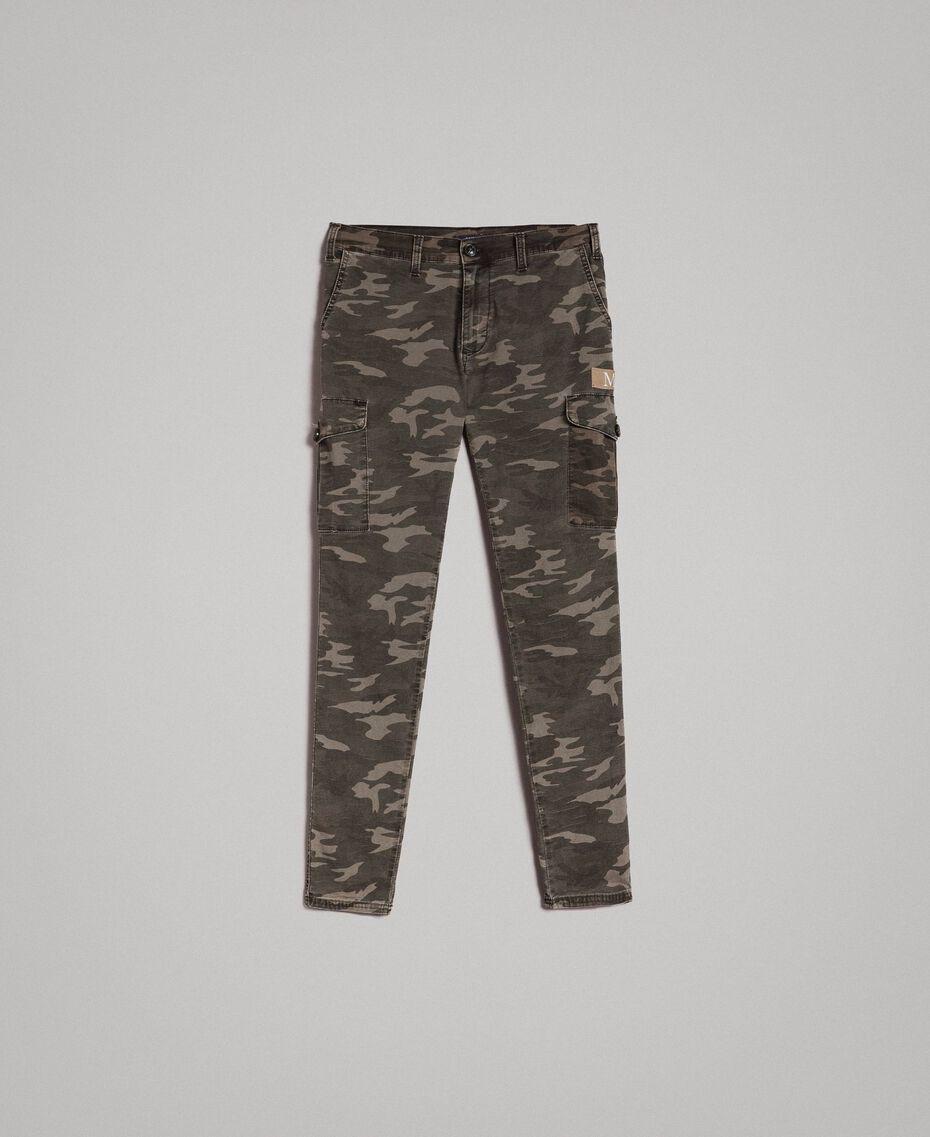 Baumwoll-Cargo-Hose mit Camouflage-Aufdruck Motiv Dunkel Camouflage Mann 191UT2021-0S
