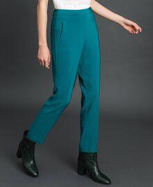 Pantalon cigarette en crêpe georgette Bleu Vert minéral Femme 192TP2386-02