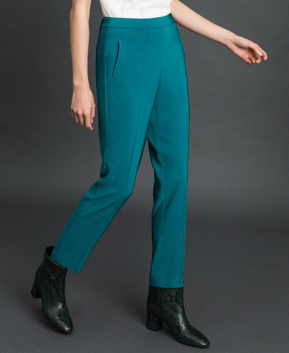 Georgette cigarette trousers Mineral Green Pale Blue Woman 192TP2386-02