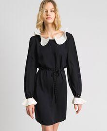 Kleid aus Crêpe de Chine mit Volants Schwarz Frau 192MP2164-02