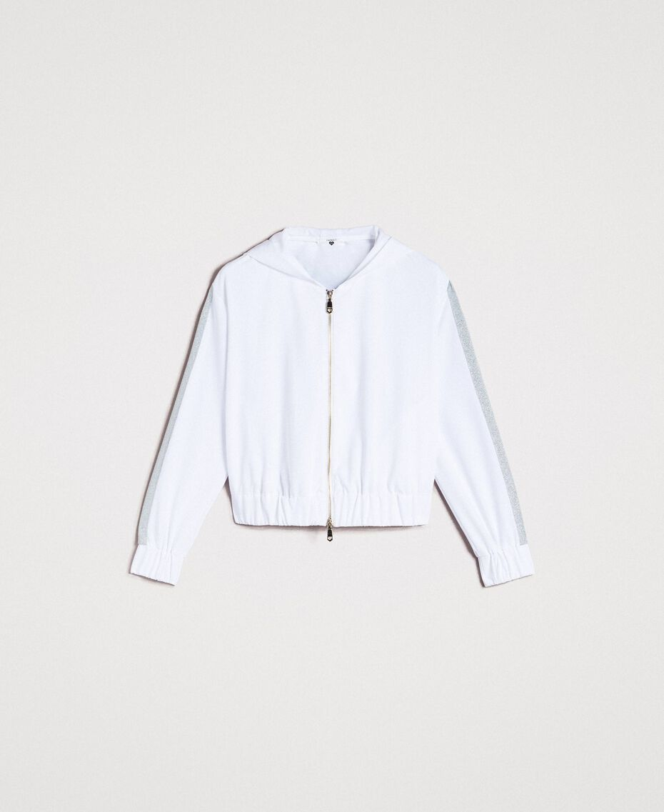 Sweatshirt with hood and zip White Woman 191LL25CC-0S