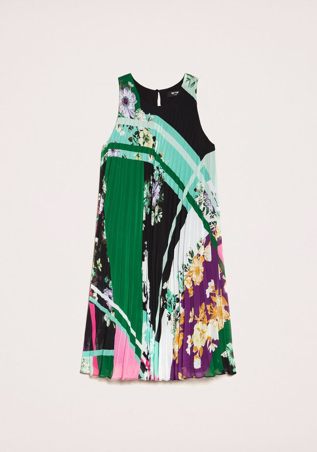 Pleated georgette printed dress